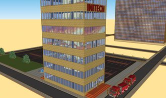 """Most working high-rise office fires show """"nothing visible"""" on arrival. (Figure courtesy of Massey Enterprises, Inc.)"""
