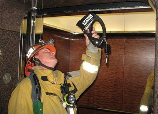 Always check the shaft for smoke, fire, and water prior to elevator use.