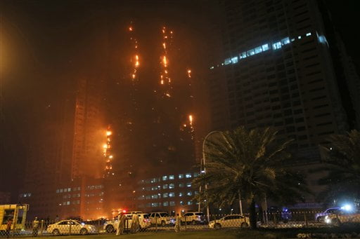 Mideast Emirates Skyscrapper Fire