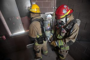 "Firefighters refill cylinders via an Emergency Fill Panel, and are ready to continue operations without having to remove their SCBA or go ""off air."""